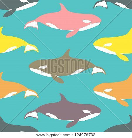 Seamless pattern with killer whales. Vector illustration.