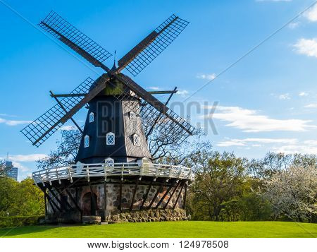 Old Windmill Slottsmollan in the Kungsparken Park Malmo Sweden