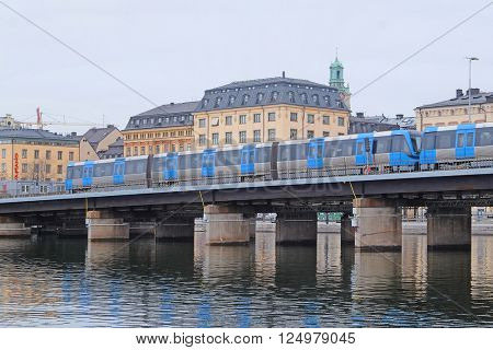 Stockholm, Sweden - March, 16, 2016: subway train in a center of Stockholm, Sweden