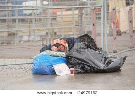 Stockholm, Sweden - April, 5, 2016: homeless woman in Stockholm, Sweden