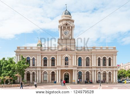 PORT ELIZABETH SOUTH AFRICA - FEBRUARY 27 2016: The historic City Hall on Market Square in Port Elizabeth was completed in 1862. The clock tower was added in 1883