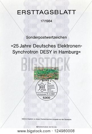 GERMANY - CIRCA 1984 : Cancelled First Day Sheet printed by Germany, that shows Electron Synchotron.