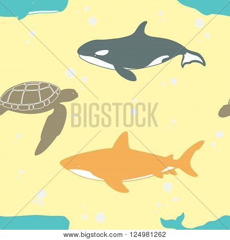 Seamless pattern with whale, shark and turtle. Vector illustration.