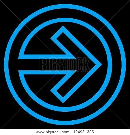 Import vector icon. Style is contour icon symbol, blue color, black background.