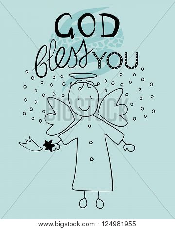 Bible lettering God bless you and little angel with a falling star