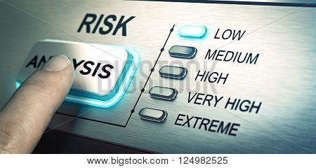 man finger about to press an analysis push button. Focus on the blue led. Concept image for illustration of risk management or assessment.
