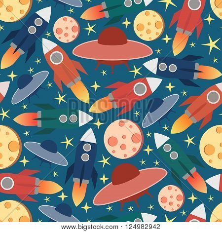 Cosmic seamless pattern.Colorful print with stars, moon and missile