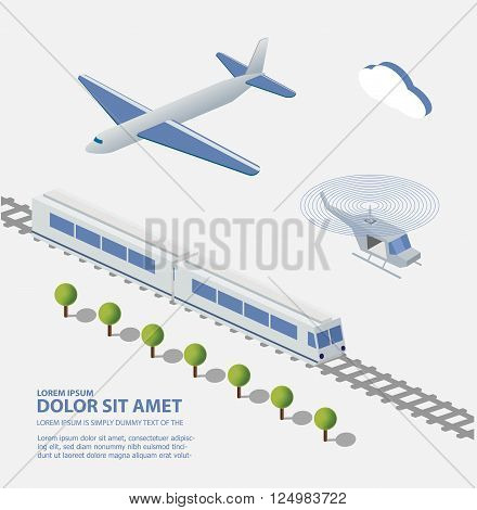Airplane Train Helicopter transportation facilities of the city