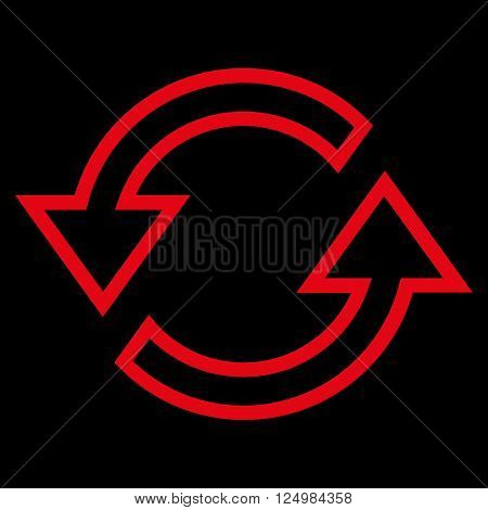 Sync Arrows vector icon. Style is thin line icon symbol, red color, black background.