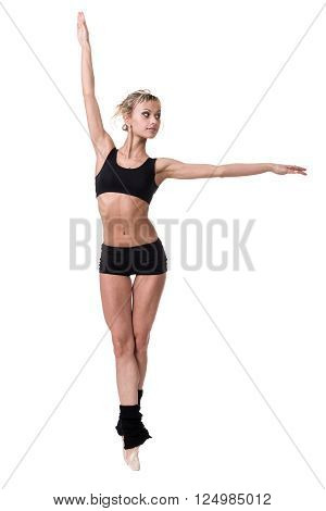 Aerobics fitness woman instructor exercising, isolated on white in full body. Energetic fit female fitness model.