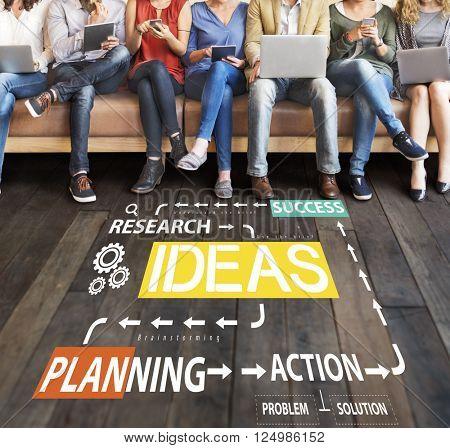 Ideas Business Planning Flow Chart Concept