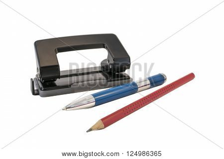 Office puncher, the handle and pencil on a white background