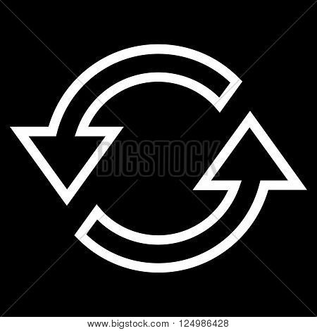 Sync Arrows vector icon. Style is thin line icon symbol, white color, black background.