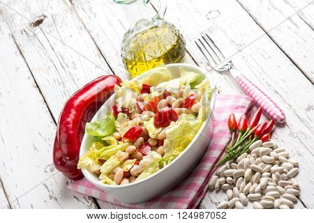 salad with beans lettuce capsicum and hot chili pepper