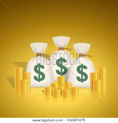 Dollar money bags with stacks of coins. Vector illustration in feng shui colors