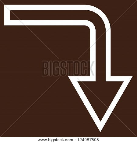 Turn Down vector icon. Style is outline icon symbol, white color, brown background.