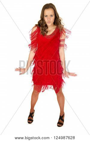 Female model ballroom dancer standing wearing frilly red dress