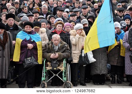 CHORTKIV - TERNOPIL - UKRAINE - 19 February 2014. The meeting-requiem in downtown Chortkiv after the tragic events on Independence Square in Kiev during the revolution of dignity