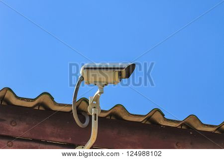 CCTV Security Camera, Closed circuit television on sky background