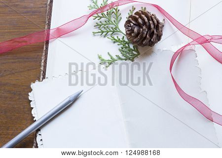 Blank vintage post card and the Christmas elements