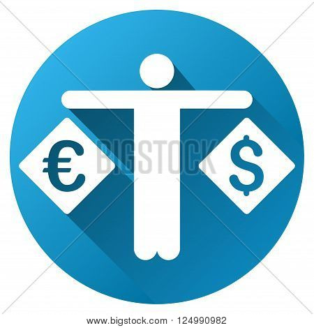 Currency Compare Person vector toolbar icon for software design. Style is a white symbol on a round blue circle with gradient shadow.