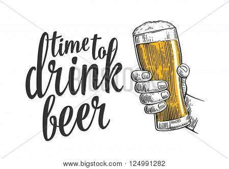 Male hand holding a beer glass. Vintage vector engraving illustration for web poster invitation to beer party time to drink. Isolated on white background
