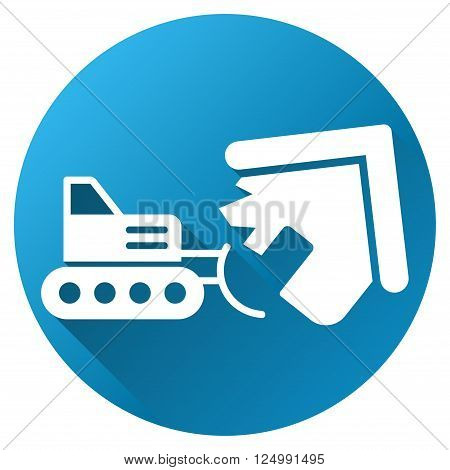 Home Demolition vector toolbar icon for software design. Style is a white symbol on a round blue circle with gradient shadow.
