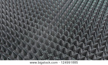 nice metal  rounded spikes background 3D Rendering
