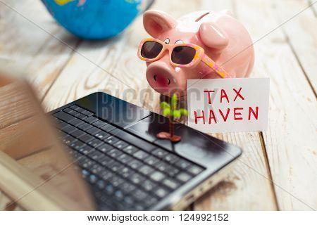 Piggy bank laptop globe - tax haven concept