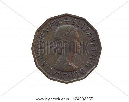 LONDON UK - CIRCA DECEMBER 2013: six pence coin (GBP) released in 1963