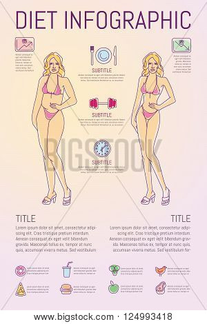 Template with diet themed outline modern illustration infographic