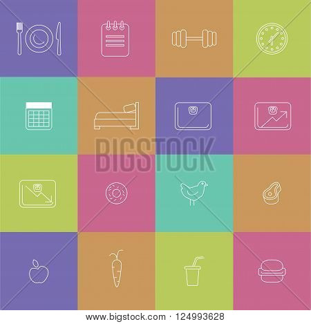 Icons for diet themed outline modern illustration infographic