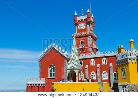 Famous Pena palace in Sintra in Portugal