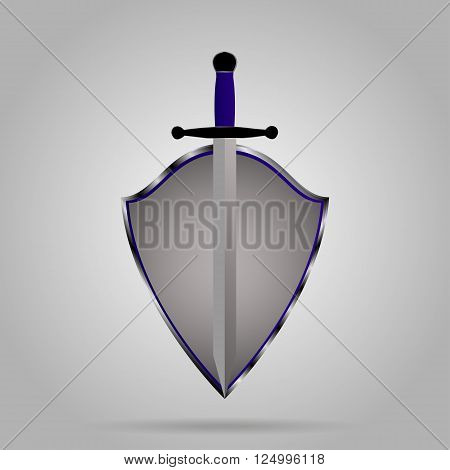 Sword and shield emblem on gray background