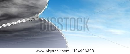 3D illustration concept or conceptual 3D abstract zipper from dramatic dark cloudy sky to a sunny summer blue sky with clouds background banner