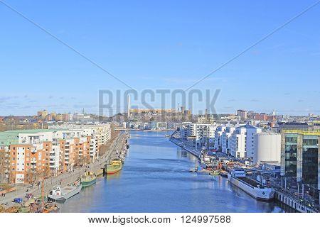 Cargo ship in Stockholm, Sweden