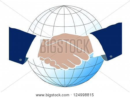 Handshake image between business man with a globe in the background