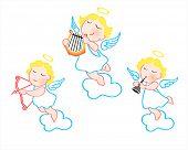 image of angel-trumpet  - Funny cartoon angels with harp - JPG