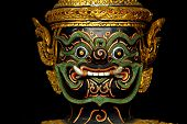 stock photo of asura  - Asura ramayana Thai traditional sculpture on Barge - JPG