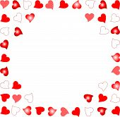 notes background randomly placed glowing hearts