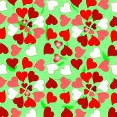 Floral colorful valentines hearts design background