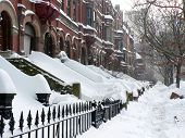pic of brownstone  - Brownstone apartment buildings after snowstorm in New York City - JPG