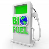 foto of biodiesel  - A green environmentally friendly and efficient gas pump with the words Bio Fuel - JPG