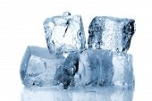 picture of ice-cubes  - Ice cubes isolated on a white background - JPG