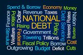 National Debt Word Cloud on Blue Background poster