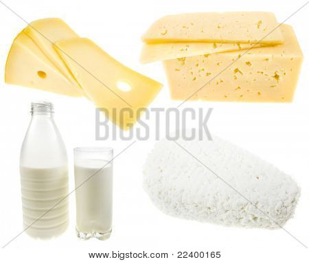 collection of dairy produce isolated on white background