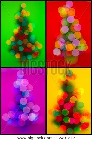 christmas collection of  trees  with defocused lights
