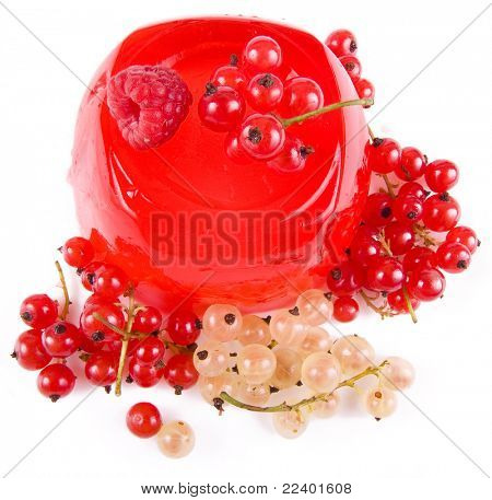 fruit jelly with fresh berries isolated on white