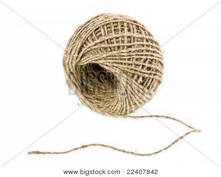 Clew of linen twine isolated on white background