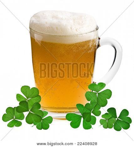 Shamrock clover and beer - - symbol of holiday St Patrick's Day